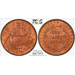 BRITISH INDIA: Victoria, Queen, 1837-1876, AE 1/4 anna, 1858(w). PCGS MS65