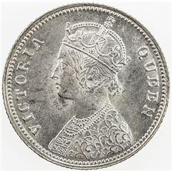 BRITISH INDIA: Victoria, Queen, 1837-1877, AR ¼ rupee, 1862 (c), KM-470, S&W-4.130, lustrous, Choice