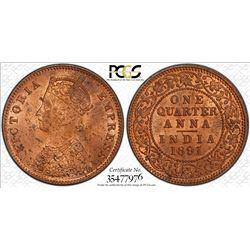 BRITISH INDIA: Victoria, Empress, 1876-1901, AE 1/4 anna, 1891(c). PCGS MS63