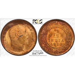 BRITISH INDIA: Edward VII, 1901-1910, AE 1/2 pice, 1910(c). PCGS MS65