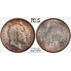 BRITISH INDIA: Edward VII, 1901-1910, AR 2 annas, 1906(c), KM-505, PCGS graded MS63.