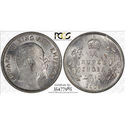 BRITISH INDIA: Edward VII, 1901-1910, AR 1/4 rupee, 1906(c). PCGS MS63
