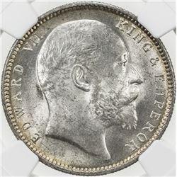 BRITISH INDIA: Edward VII, 1901-1910, AR rupee, 1910(c). NGC MS63