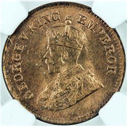 BRITISH INDIA: George V, 1910-1936, AE ½ pice, 1919(c), KM-510, NGC graded MS65 RD.