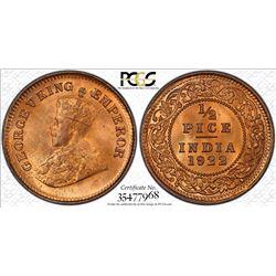BRITISH INDIA: George V, 1910-1936, AE ½ pice, 1922(c), KM-510, PCGS graded MS65 RD+