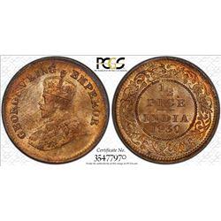 BRITISH INDIA: George V, 1910-1936, AE 1/2 pice, 1930(c). PCGS MS64