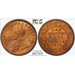 BRITISH INDIA: George V, 1910-1936, AE 1/4 anna, 1913(c). PCGS MS65