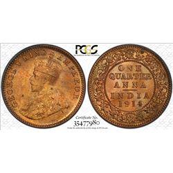 BRITISH INDIA: George V, 1910-1936, AE 1/4 anna, 1914(c). PCGS MS65