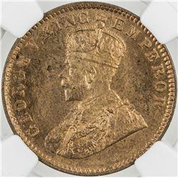 BRITISH INDIA: George V, 1910-1936, AE 1/4 anna, 1914(c). NGC MS64