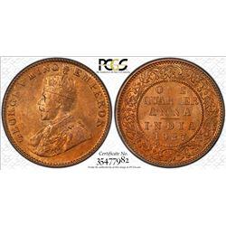 BRITISH INDIA: George V, 1910-1936, AE 1/4 anna, 1927(c). PCGS MS65