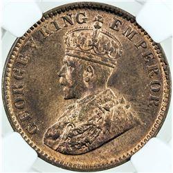 BRITISH INDIA: George V, 1910-1936, AE 1/4 anna, 1931(c). NGC MS64
