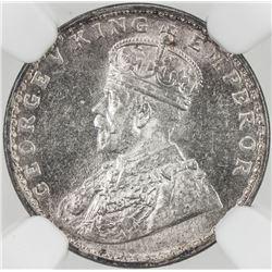 BRITISH INDIA: George V, 1910-1936, AR 2 annas, 1917(c), KM-515, NGC graded MS63.