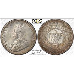 BRITISH INDIA: George V, 1910-1936, AR ¼ rupee, 1919(c), KM-518, PCGS graded MS66.