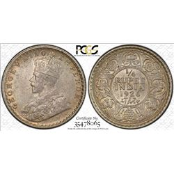 BRITISH INDIA: George V, 1910-1936, AR ¼ rupee, 1926(c), KM-518, PCGS graded MS65.
