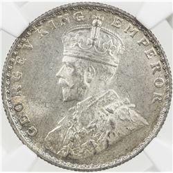 BRITISH INDIA: George V, 1910-1936, AR ½ rupee, 1936(c), KM-522, NGC graded MS63.