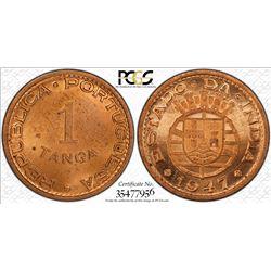 PORTUGUESE INDIA: AE tanga, 1947, KM-24, one year type, PCGS graded MS64 RD+