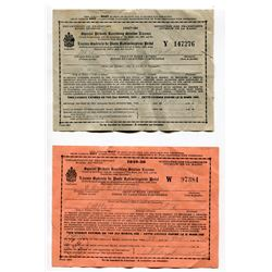"LOT OF 2 ""SPECIAL PRIVATE RECEIVING STATION LICENCE"" (HOME RADIO LICENCE; 1947-48 & 1949-50)"