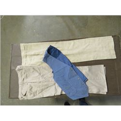 VEST & 2 PRS PANTS (LEE CORDOUROY VEST *MED*  PANTS - LINEN *24  W, 28.5  L*; COTTON *26  W, 26  L*)