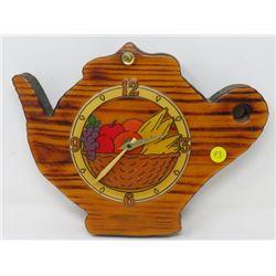 TEA POT WOODEN CLOCK (BATTERY OPERATED)