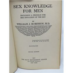 "SEX KNOWLEDGE FOR MEN"" (BY WILLIAM J ROBINSON MD) *1917 SECOND EDITION*"