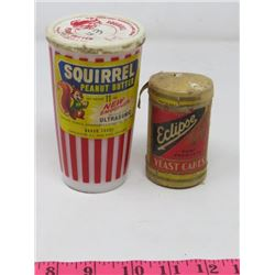 LOT OF 2 'ECLIPSE YEAST CAKES' *CARDBOARD* & *GLASS* 'SQUIRREL PEANUT BUTTER'
