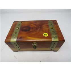 "JEWELRY BOX (WOODEN TREASURE CHEST) *8.5""L X 5""D X 4"" H, LINED*"
