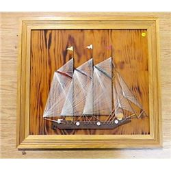 "STRING ART SHIP (ON PLYWOOD BACKGROUND & FRAME) *70"" 65""*"