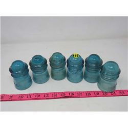 INSULATORS (QTY 6) *HEMINGWAY* (BLUE)
