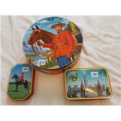 "RCMP COLLECTOR TINS *VINTAGE*(LARGE ONE IS 9.5"")"