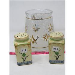 COOKIE JAR (GLASS, NO LID) & SALT/PEPPER SET (PORCELAIN, SQUARE)