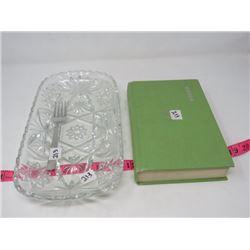 SERVING DISH & FORK (RECTANGULAR GLASS) & 1970 FREEZER BOOK