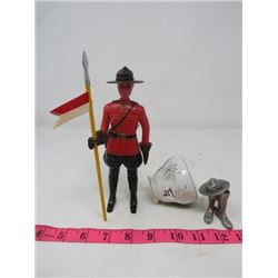R.C.M.P. COLLECITBLES (OFFICER HOLDING BANNER ON STAFF *PLASTIC*) & (BOOTS *PEWTER COLORED METAL*)