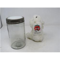 LOT OF 3 - SMALL COKE BEAR; GLASS JAR (32 OZ. W/METAL RING) & GLASS LID