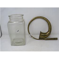 ORNAMENTAL BRASS HORN & GLASS GALLON JAR