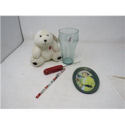LOT OF 4 - SMALL COKE BEAR, PENCIL, PLASTIC TUMBLER & ICE PICK