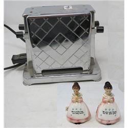 2 SLICE TOASTER (DRIP SIDE) *TOASTESS) SALT & PEPPER SHAKERS (PRAYER LADY) *RPD*