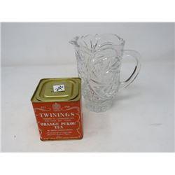 TEA TIN (TWINNINGS ORANGE PEKOE), WATER PITCHER (HEAVY GLASS)