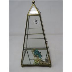 LOT OF 3 - DISPLAY CASE (PYRAMID SHAPED, GLASS/BRASS); COLLECTION OF TIE BARS; ROCKING FROGS