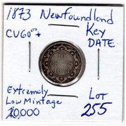 1873 NEWFOUNDLAND 10 CENT PC *KEY DATE LOW MINTAGE*