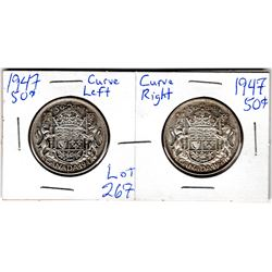 1947 50 CENT 2 PIECES *CURVED RIGHT & CURVED LEFT*