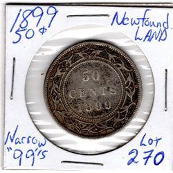 1899 50 CENT PIECE *NARROW 9s