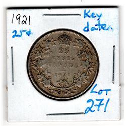 1921 25 CENT *KEY DATE*