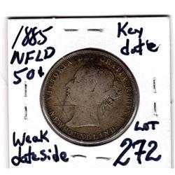 1885 NEWFOUNDLAND 50 CENTS *LOW MINTAGE KEY DATE* (WEAK DATE SIDE)