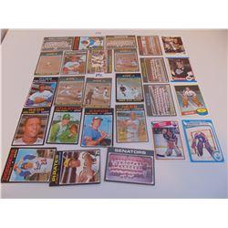 LOT OF 20 1970s BASEBALL CARDS & 4 HOCKEY