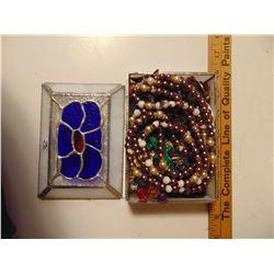 JEWELRY BOX *STAINED GLASS* & JEWELRY