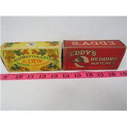 EDDY'S MATCH BOXES (REDLAND AND ALLUMETTES DE BOIS)