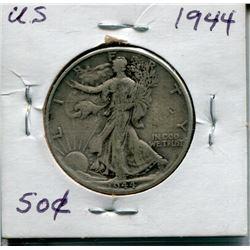 "1944 USA SILVER ""WALKING LIBERTY"" HALF DOLLAR PC"