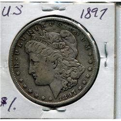 """1897 USA SILVER """"MORGAN"""" DOLLAR"""