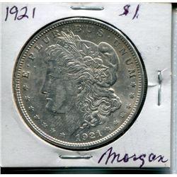 """1921 USA SILVER """"MORGAN"""" DOLLAR"""