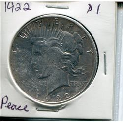 "1922 USA SILVER ""PEACE"" DOLLAR"